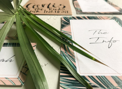 Modern, fun wedding stationery, invitation with blush pink palm leaf design perfect for a destination beach wedding.