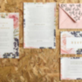 wedding stationery invitation, save the date and rsvp with a spring floral design and calligraphy envelope