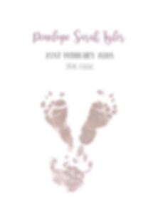 new baby christening personalised print with foot and handprint design