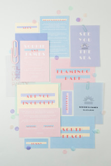 Retro Miami inspired pastel wedding stationery, invitation, save the date with retro art deco inspired design and soft pastel colour palette