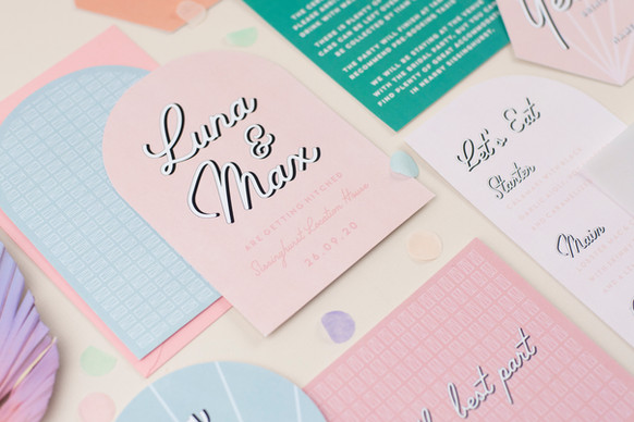 Modern, Palm Springs inspired wedding stationery, invitation, save the date in pastel colours with bespoke vellum insert