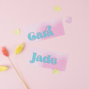 Fun, colourful wedding stationery, invitation, save the date with pink and yellow colour scheme and bold heart design
