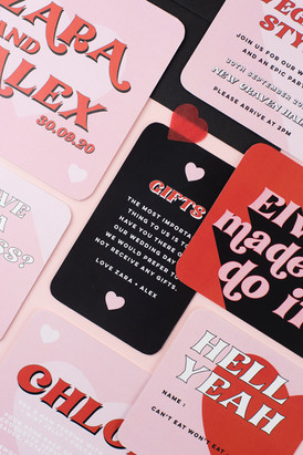 Fun, cool, modern, alternative wedding stationery, invitation, save the date inspired by Las Vegas with red, black and pink colour scheme and modern heart design