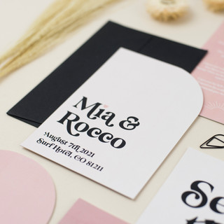 Modern, neutral wedding stationery, invitation, save the date with subtlr colour palette and modern typeface