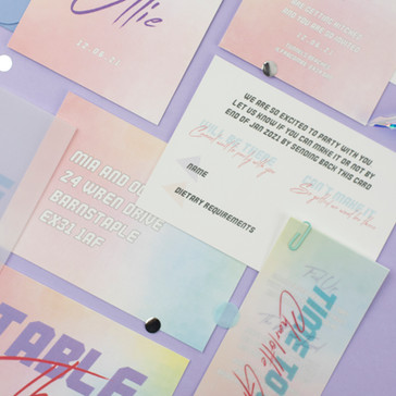 Retro 80's inspired wedding stationery, invitation, save the date with fun ombre pastel design and bespoke vellum insert