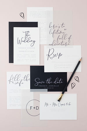 Modern, minimal, monochrome wedding stationery, invitation, save the date with calligraphy style script and bespoke vellum inserts