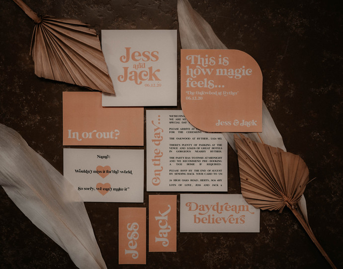 Boho inspired wedding stationery, invitation, save the date for a winter wedding, modern with curved edges and neutral colours