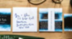 indigo watercolour wedding invitation stationery with calligraphy envelope