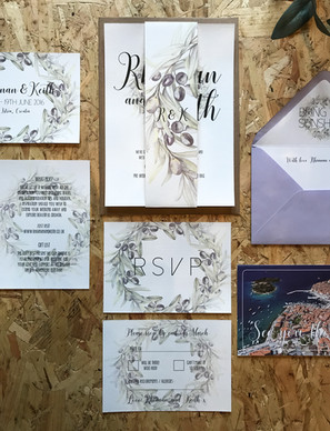 Modern, rustic wedding stationery, invitation, inspired by the olive groves in Italy. Perfect for a destination wedding in Italy.