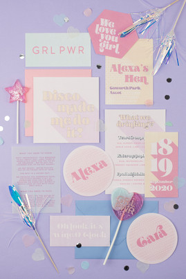 Fun, modern, pastel hen weekend invitations with disco ball place settings, hen party, bachalorette party