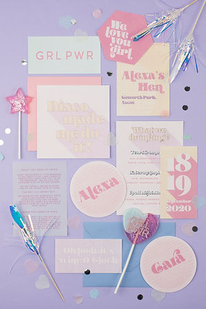 Fun, modern, pastel hen weekend invitations with disco ball place settings