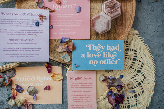 Boho, modern wedding stationery, invitation, save the date in soft pastels colour scheme with modern retro typeface