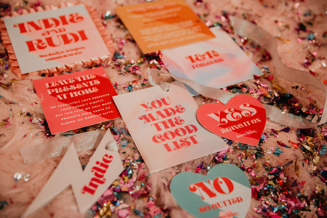 Fun, colourful, retro wedding stationery, save the date, invitation for a modern wedding with bold design, vellum cards and multicolour cards