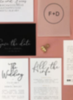 MONOCHROME WEDDING INVITATION AND SAVE THE DATE WITH VELLUM CALLIGRAPHY COVER