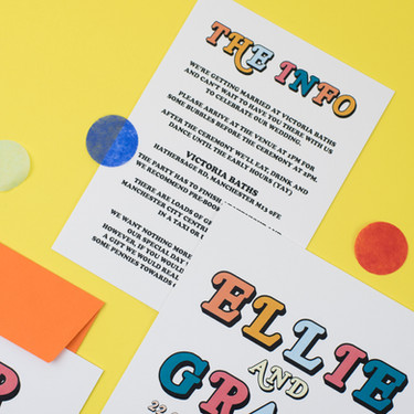 Bold, fun, colourful wedding stationery, invitation, save the date with retro typeface