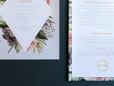 Modern floral wedding stationery, invitations, with geometric wild floral design and muted colours with gold foil.
