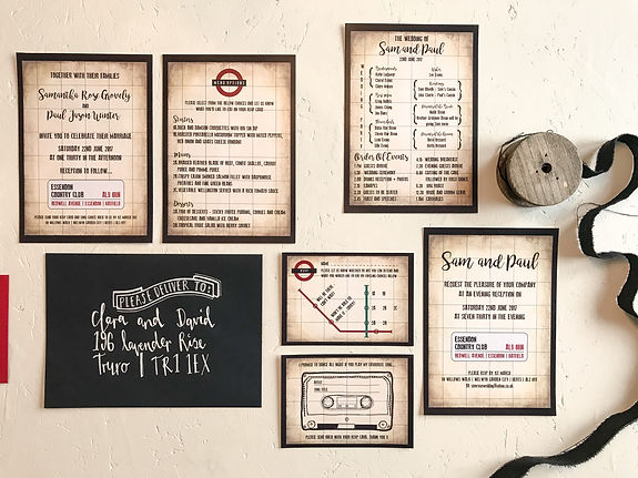 london themed wedding invitation stationery and calligraphy envelope
