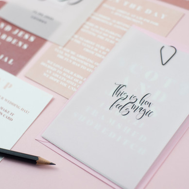 Blush pink, elegant, modern wedding stationery, invitation, save the date with vellum sleeve and black clasp
