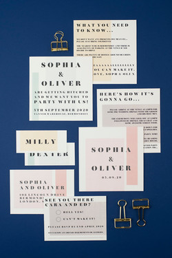 Modern, minimal wedding stationery, save the date, invitation with colour block design and modern, bold typeface