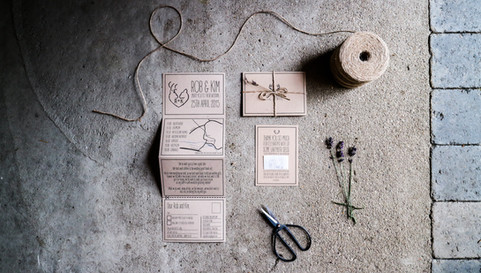 Rustic, sustainable wedding stationery, invitation, accordion style printed on recycled card with modern, elegant design.