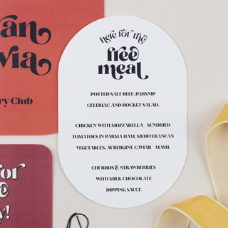 Modern, retro 60's inspired wedding stationery, invitation, save the date with curved edges and rich colour palette