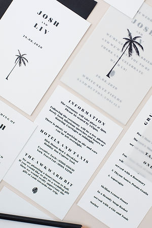Modern, minimal, monochrome wedding stationery, invitation, save the date with palm tree design and vellum sleeve