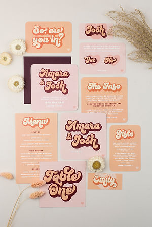 Retro inspired wedding stationery, save the date, invitation for a boho, summer, festival style wedding