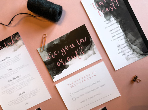 Modern wedding stationery, invitation, with black watercolour design and blush pink type perfect for an industrial style wedding