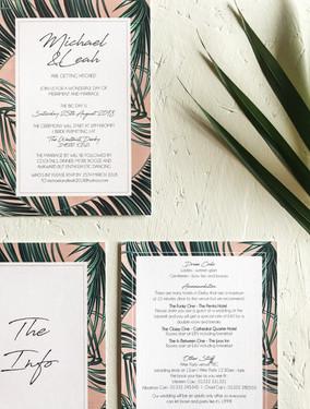 Modern, fun wedding stationery, invitation with blush pink palm leaf design perfect for a destination beach wedding.