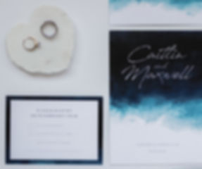 indigo blue watercolour beach inspired wedding stationery invitation