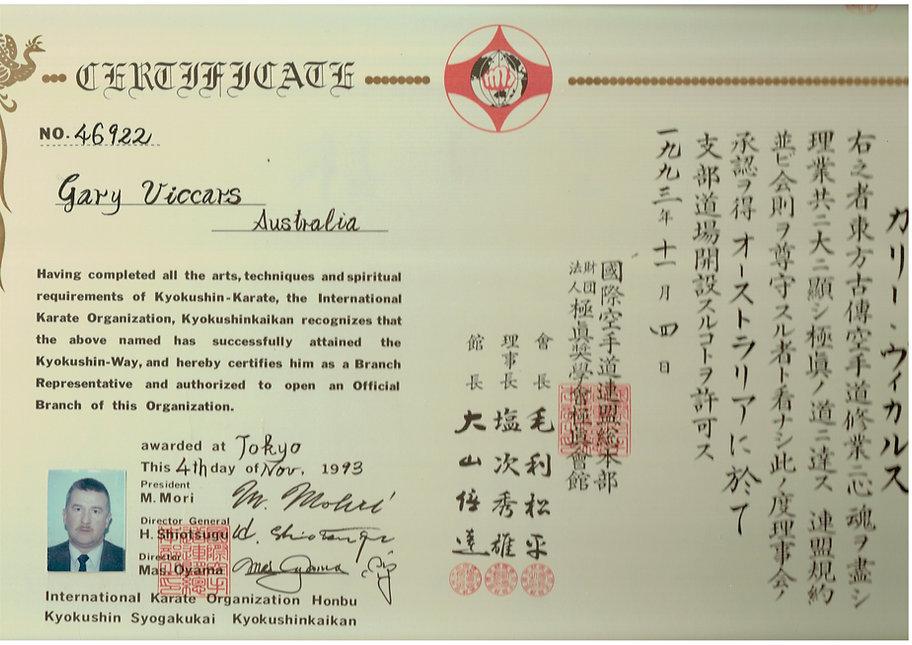 Shihancho's Branch Chief Certificate from Sosai Oyama