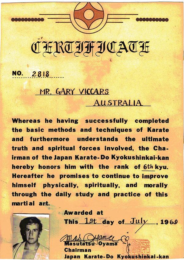 Shihancho's first grading certificate