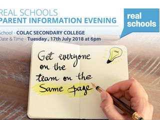 Real Schools Parent Information session   Tuesday 17th July 2018 at 6pm