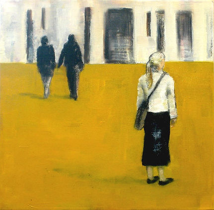 From the series People And Relations, 2008, oil and charcoal on canvas, 30x30 cm