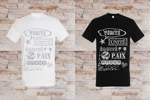 """T-shirt Homme """"Vérité, Unité, Équité, Paix, Amour"""""""