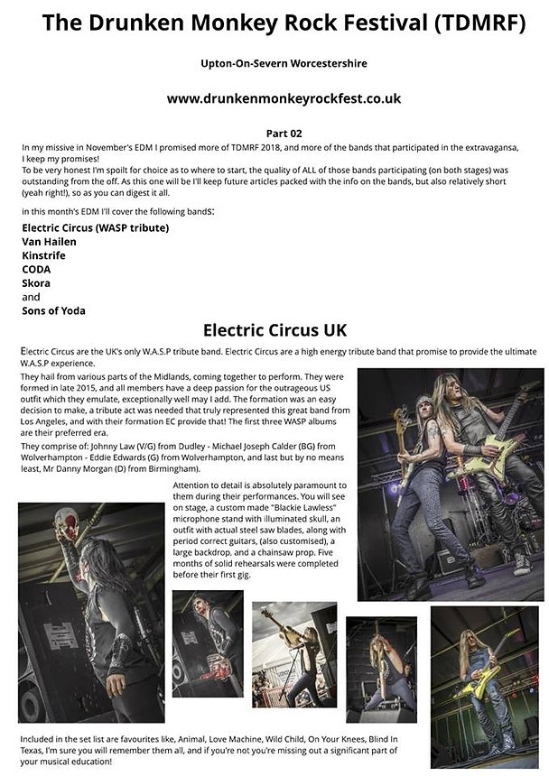 Electric Circus UK WASP Tribute Band Review