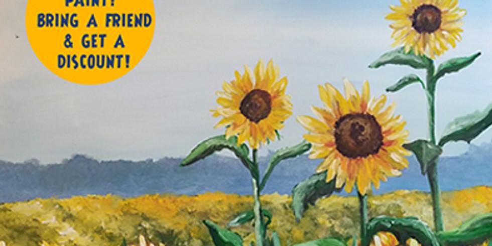Sunflower Field Acrylic Landscape Workshop