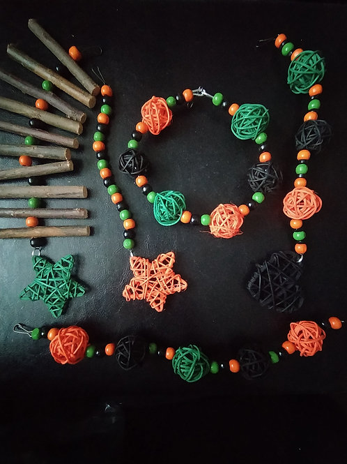Black, Dark Green and Orange Set