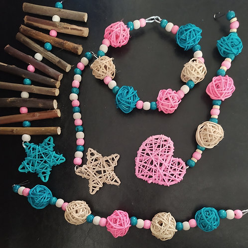 Beige, Light Pink and Turquoise Set