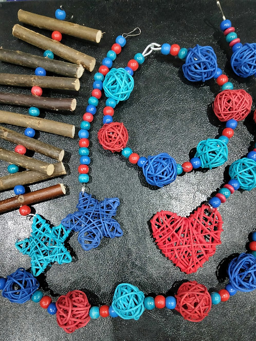 Blue, Red and Turquoise Set