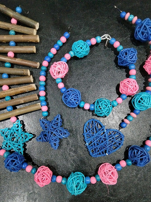 Blue, Light Pink and Turquoise Set