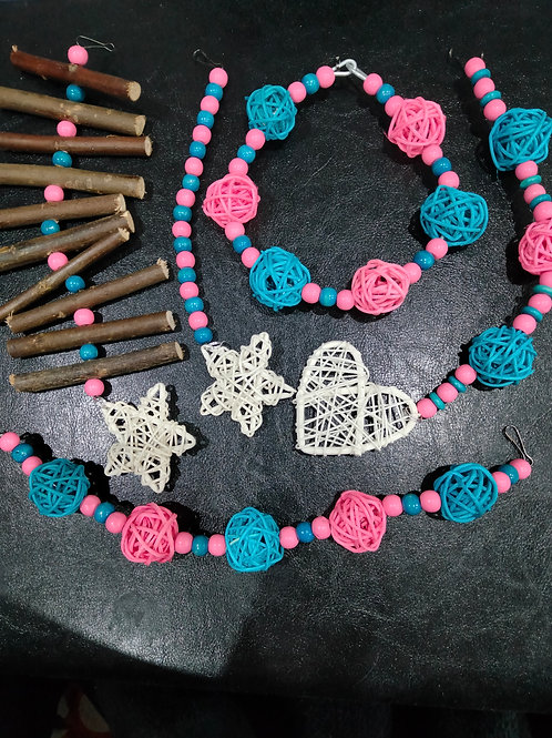 Light Pink, Turquoise and White Set
