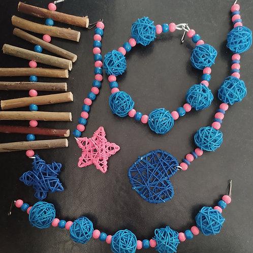 Coral Pink and Royal Blue Set
