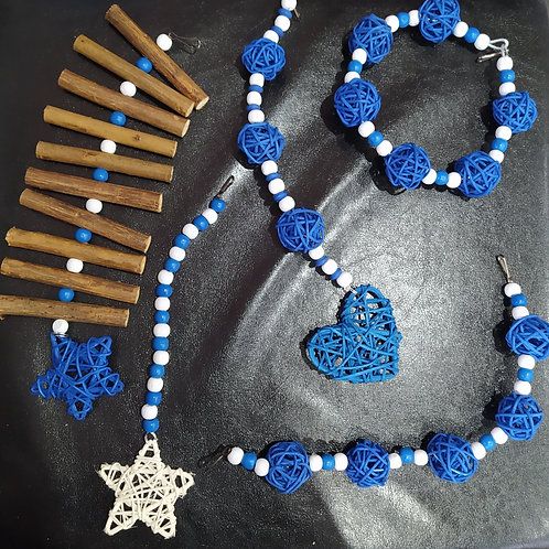 Blue and White Wicker Set