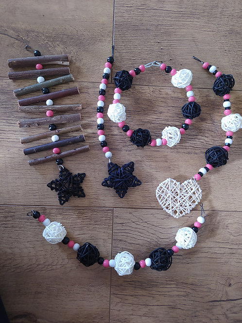 Black, Coral Pink and White Set