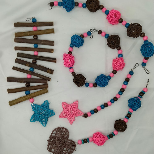 Brown, Light Pink and Turquoise Set