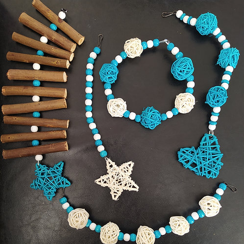 Turquoise and White Wicker Set