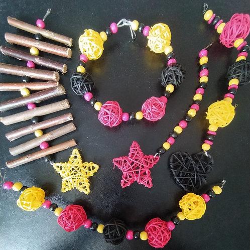 Black, Dark Pink and Yellow Set
