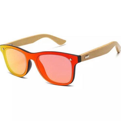 Gafas de Sol Bambú Cristal Rojo