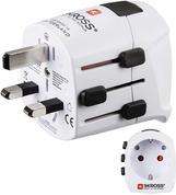 Hama World Travel Pro Light Adaptador de Enchufe eléctrico Tipo F Universal